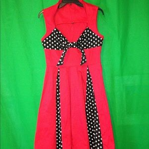 🌺. Red & Black Dress with dots.